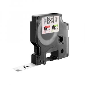 Etichete autocolante plastifiate, DYMO LabelManager D1, 19mm x 7m, negru/alb, 10 buc/set, DY45803 DY20930981