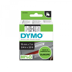 DYMO LabelManager D1 plastic labels, 19mm x 7m, black on white, 45803 S07208307