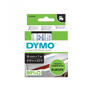 DYMO LabelManager D1 plastic labels, 19mm x 7m, blue on white, 45804 S07208403