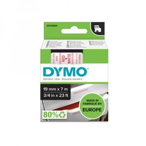 Etichete autocolante plastifiate, DYMO LabelManager D1, 19mm x 7m, rosu/alb, 45805 S07208503