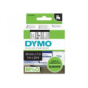 Etichete autocolante plastifiate, DYMO LabelManager D1, 24mm x 7m, negru/transparent, 53710 S07209204