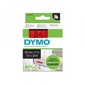 Etichete autocolante plastifiate, DYMO LabelManager D1, 24mm x 7m, negru/rosu, 53717 S07209704