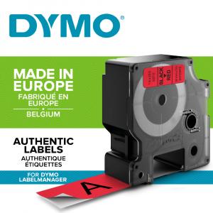 Etichete autocolante plastifiate, DYMO LabelManager D1, 24mm x 7m, negru/rosu, 53717 S07209700