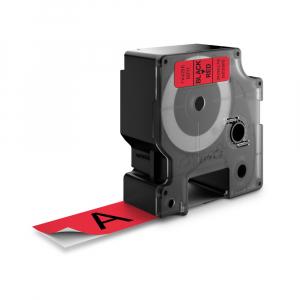 Etichete autocolante plastifiate, DYMO LabelManager D1, 24mm x 7m, negru/rosu, 53717 S07209703