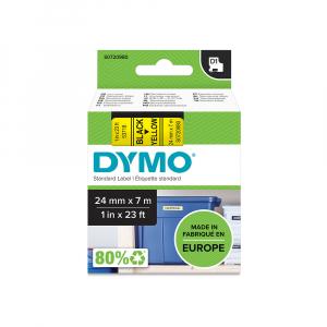 Etichete autocolante plastifiate, DYMO LabelManager D1, 24mm x 7m, negru/galben, 53718 S07209804