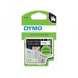 Etichete autocolante, DYMO LabelManager D1, poliester permanent, 12mm x 5.5m, negru/alb, 16959 S07180605