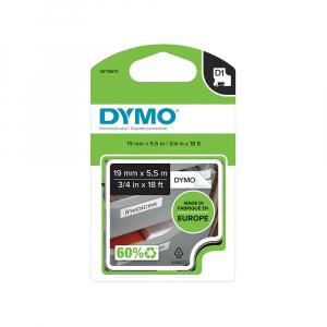 Etichete autocolante, DYMO LabelManager D1, poliester permanent, 19mm x 5.5m, negru/alb, 16960 S07180705