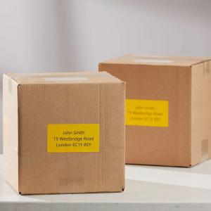 Etichete termice, DYMO LabelWriter, 54mmx101mm, hartie galbena, mesaje avertizare, adrese voiaj, permanente, 1 rola/cutie, 220 etichete/rola, 2133400, 990144