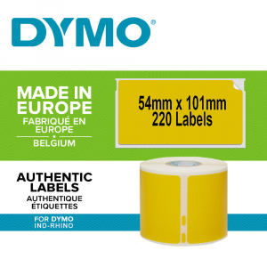 Etichete termice, DYMO LabelWriter, 54mmx101mm, hartie galbena, mesaje avertizare, adrese voiaj, permanente, 1 rola/cutie, 220 etichete/rola, 2133400, 990140