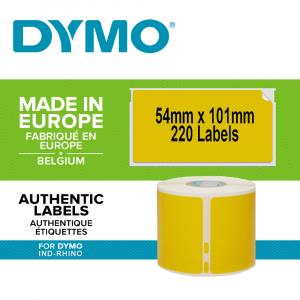 Set Etichete termice, DYMO LabelWriter, 54mmx101mm, hartie galbena, mesaje avertizare, adrese voiaj, permanente, 1 rola/cutie, 220 etichete/rola, 2133400, 990141