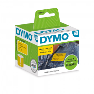 Etichete termice, DYMO LabelWriter, 54mmx101mm, hartie galbena, mesaje avertizare, adrese voiaj, permanente, 1 rola/cutie, 220 etichete/rola, 2133400, 990149