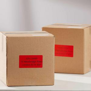 Etichete termice, DYMO LabelWriter, 54mmx101mm, hartie rosie, mesaje avertizare, adrese voiaj, permanente, 1 rola/cutie, 220 etichete/rola, 2133399, 990143
