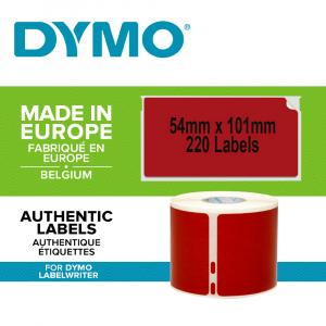 Set Etichete termice, DYMO LabelWriter, 54mmx101mm, hartie rosie, mesaje avertizare, adrese voiaj, permanente, 1 rola/cutie, 220 etichete/rola, 2133399, 990141
