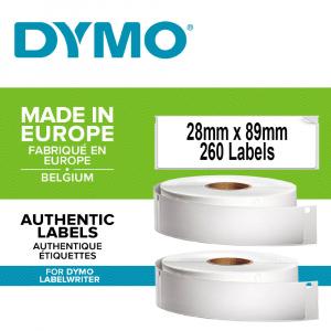 Etichete termice, DYMO LabelWriter, adrese, permanente, 28mmx89mm, hartie alba, 2 role/cutie, 130 etichete/rola, 99010 S0722370 19831730