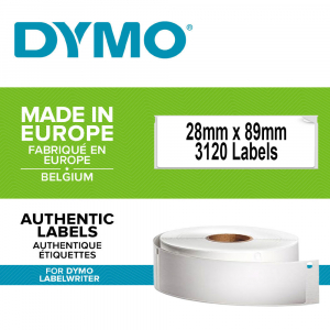 Etichete termice, DYMO LabelWriter, adrese, permanente, 28mmx89mm, hartie alba, 24 role/cutie, 130 etichete/rola, 99010 S0722370 20930910