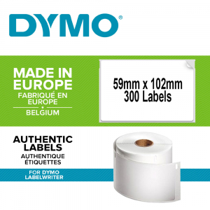 DYMO LabelWriter Durable shipping labels, 59mmx102mm, polypropylene white, 1 roll/box, 300 labels/roll, 19330880