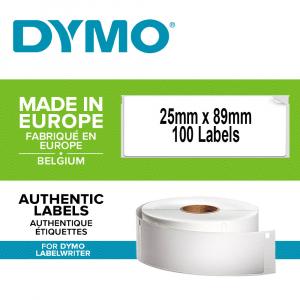 Etichete termice industriale, DYMO LabelWriter Durable, 25mmx89mm, polipropilena alba, 1 rola/cutie, 100 etichete/rola, 19762000