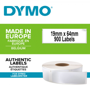 Etichete termice industriale, DYMO LabelWriter Durable, coduri de bare, 19mmx64mm, polipropilena alba, 1 rola/cutie, 900 etichete/rola, 19330850
