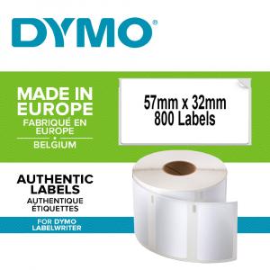 Etichete termice industriale, DYMO LabelWriter Durable, multifunctionale medii, 57mmx32mm, polipropilena alba, 1 rola/cutie, 800 etichete/rola, 1933084.0