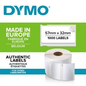 Etichete termice industriale, DYMO LabelWriter Durable, multifunctionale medii, 57mmx32mm, polipropilena alba, 1 rola/cutie, 800 etichete/rola, 1933084.1