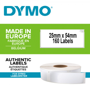Etichete termice industriale, DYMO LabelWriter Durable, multifunctionale mici, 25mmx54mm, polipropilena alba, 1 rola/cutie, 160 etichete/rola, 19764110