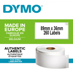 Etichete termice, DYMO LabelWriter, adrese mari, permanente, 89mmx36mm, hartie alba, 1 rola/cutie, 260 etichete/rola, 1983172 99012 S07224000