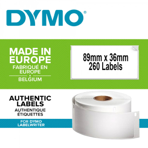 Etichete termice, DYMO LabelWriter, adrese mari, permanente, 89mmx36mm, hartie alba, 12 role/cutie, 260 etichete/rola, 2093093 99012 S07224000