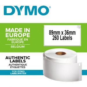 Etichete termice, DYMO LabelWriter, adrese mari, permanente, 89mmx36mm, hartie alba, 24 role/cutie, 260 etichete/rola, 2093093 99012 S07224000