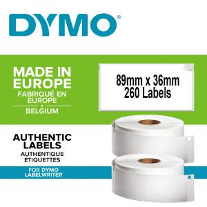 Etichete termice, DYMO LabelWriter, adrese mari, permanente, 89mmx36mm, hartie alba, 260 etichete/rola, 1983172 99012 S07224000