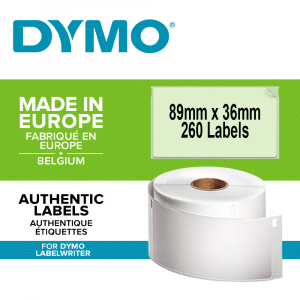 Etichete termice, DYMO LabelWriter, adrese mari, permanente, 89mmx36mm, plastic transparent, 1 rola/cutie, 260 etichete/rola, S07224100