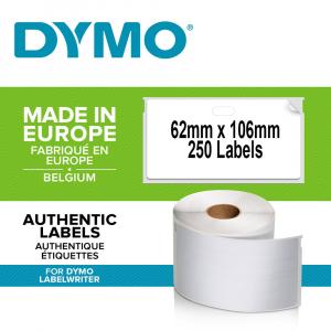 Etichete termice, DYMO LabelWriter, ecusoane/carduri mari, neadezive, 62mmx106mm, hartie alba, 1 rola/cutie, 250 etichete/rola, S09291100