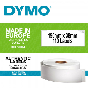 DYMO LabelWriter, Lever Arch Labels 50mm, permanent, 190mmx38mm, paper white, 1 roll/box, 110 labels/roll, 99018 S07224700