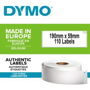 Etichete termice, DYMO LabelWriter, biblioraft 75mm, permanente, 190mmx59mm, hartie alba, 1 rola/cutie, 110 etichete/rola, 99019 S07224800