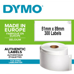 Etichete termice, DYMO LabelWriter, ecusoane/carduri medii, neadezive, 51mmx89mm, hartie alba, 1 rola/cutie, 300 etichete/rola, S09291000