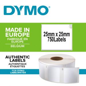 Etichete termice, DYMO LabelWriter, multifunctionale, patrate, permanente, 25mmx25mm, hartie alba, 1 rola/cutie, 750 etichete/rola, S09291200
