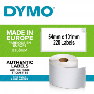 DYMO LabelWriter, Shipping/Name Badge labels, permanent, 54mmx101mm, paper white, 1 roll/box, 220 labels/roll, 99014 S0722430 20155400