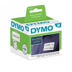 DYMO LabelWriter, Shipping/Name Badge labels, permanent, 54mmx101mm, paper white, 1 roll/box, 220 labels/roll, 99014 S0722430 20155405