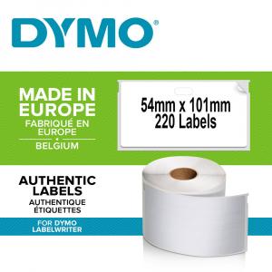Etichete termice, DYMO LabelWriter, adrese voiaj, permanente, 54mmx101mm, hartie alba, 12 role/cutie, 220 etichete/rola, 99014 S0722420 20155400