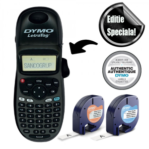 Aparat de etichetat Dymo LetraTag 100H Black Edition, ABC, etichete plastic autocolante si o banda hartie0