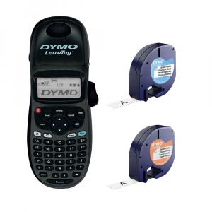 Set Aparat de etichetat Dymo LetraTag 100H Plus Black Edition, ABC, etichete plastic autocolante si o banda hartie0