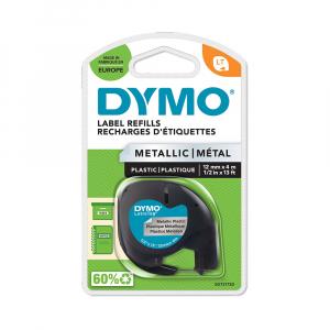 Etichete plastic autocolante DYMO LetraTag, 12mmx4m, argintiu metalic, 91208 S0721730 S0721750 DY912284