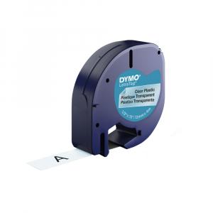 Etichete plastic autocolante DYMO LetraTag, 12mmx4m, transparente, S0721530 S0721550 122670