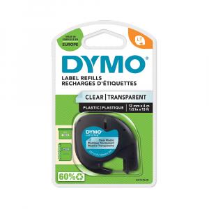 Etichete plastic autocolante DYMO LetraTag, 12mmx4m, transparente, S0721530 S0721550 122674