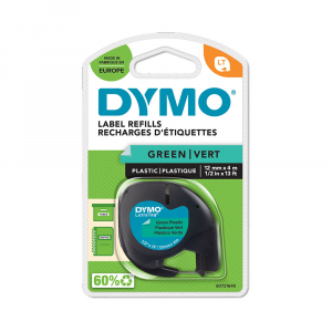 Etichete plastic autocolante DYMO LetraTag, 12mmx4m, verzi, S0721640 S0721690 912045