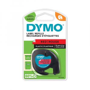 Etichete plastic autocolante DYMO LetraTag, 12mmx4m, rosii, S0721630 S0721680 912033