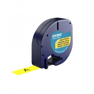 Etichete plastic autocolante DYMO LetraTag, 12mmx4m, galbene, S0721620, S0721670, 91202, S07215700