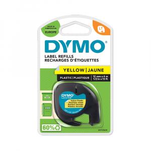 Etichete plastic autocolante DYMO LetraTag, 12mmx4m, galbene, S0721620, S0721670, 91202, S07215705