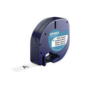 Etichete originale DYMO LetraTag plastic autocolant alb, 12mm x 4m, negru/alb, blister, fabricate in Belgia, S07215600