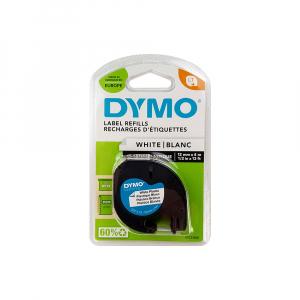 Etichete originale DYMO LetraTag plastic autocolant alb, 12mm x 4m, negru/alb, blister, fabricate in Belgia, S072156011