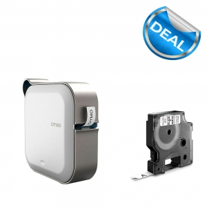 Imprimanta Etichete Bluetooth Dymo MobileLabeler si o caseta etichete profesionale D1 9 mm x 7m, negru/alb, 1978246, 53713, 409130